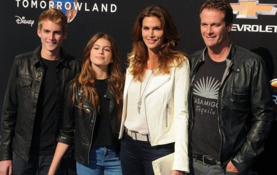 Presley Gerber, Kaia Gerber, Cindy Crawford, Rande Gerber 'Tomorrowland' film premiere, Los Angeles, America - 09 May 2015