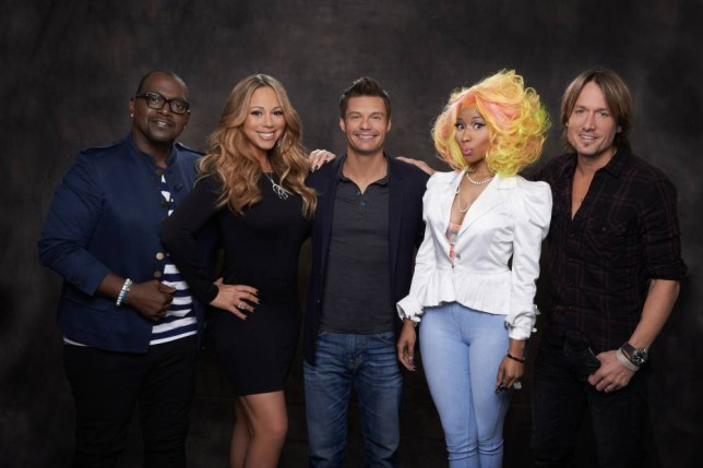 AMERICAN IDOL: (L-R) Judges Randy Jackson and Mariah Carey, host Ryan Seacrest and judges Nicki Minaj and Keith Urban on Season Twelve of AMERICAN IDOL. The season premiere airs live in mid January on FOX. (Photo by FOX via Getty Images)