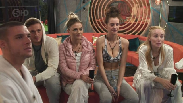 13.05.15 Big Brother: Timebomb - Day 1 - Highlights. Pictured: Aaron Frew, Danny Wisker, Sarah Greenwood, Jade-Martina Lynch and Eileen Daly PLANET PHOTOS www.planetphotos.co.uk info@planetphotos.co.uk +44 (0)20 8883 1438