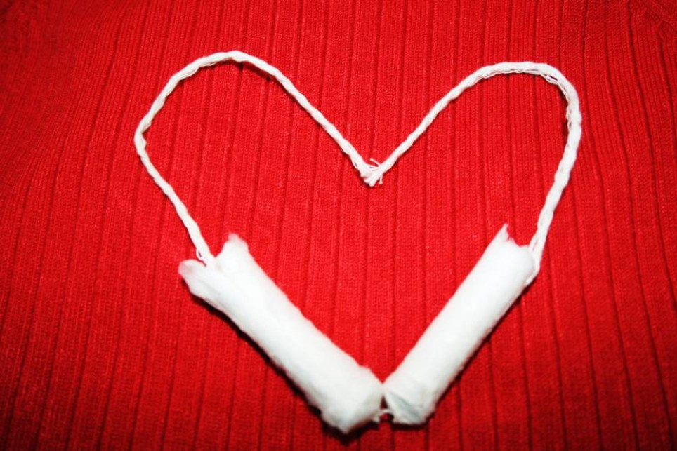 Heart made out of two tampons