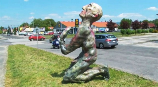 """Pic shows: The statue of naked man was exhibited in front of gallery in Prievidza for a few hours. A statue of naked man showing hislarge penis was removed from a public place because residents complained it was too rude. The  giant 10 feet statue was supposed to be a promotion for an exhibition of Slovak artist Marek Ormandik in north-western Slovakiaís town of Prievidza. But police ordered it removal because of complaints received from the Mayorís office. Roman Turcel, manager of  the gallery said: """"We are preparing exhibition of Marek Ormandik. It was totally natural to exhibit his statue outside.  """"For me the statue is a valuable art piece. """"It is annoying that some people cannot perceive art as art.""""  But Michel Dureje, spokesman for the Mayor said: """"The peopleís reaction was that the statue caused a public nuisance and the people did not identify with the statue."""" The gallery could face a fine of 24 GBP for the statue being a public nuisance.  Vit Zajac , policeís spokesman claimed that the statue had to be removed not because of the nudity but because the gallery manager did not have any permission for exhibiting  it  in a  public place. He said:""""It was not allowed to be  taken outside so it had to be removed."""" (ends)"""