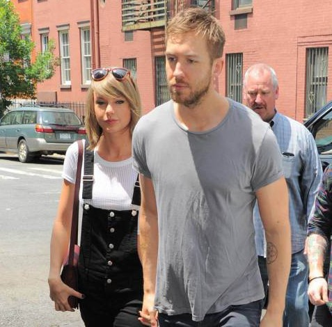 Taylor Swift and Calvin Harris get lunch at the Spotted Pig with Ed Sheeran (R) on May 28, 2015 in New York, New York.  (Photo by Josiah Kamau/BuzzFoto via Getty Images)