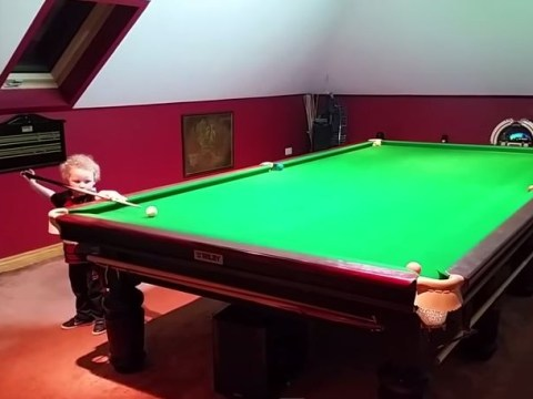 Video of three-year-old child Adam Wynne impressing while playing snooker goes viral