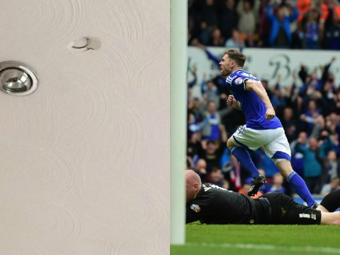 Ipswich fan celebrates goal by punching hole in ceiling, scorer Paul Anderson actually offers to pay for damages