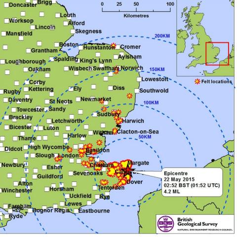 Earthquake hits UK coast