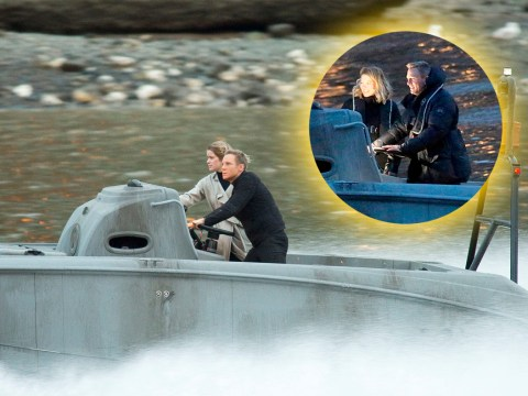 Daniel Craig's stunt double does all the hard work during Spectre filming on the Thames