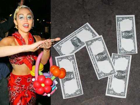 Miley Cyrus showers paparazzi with dollar notes featuring her face