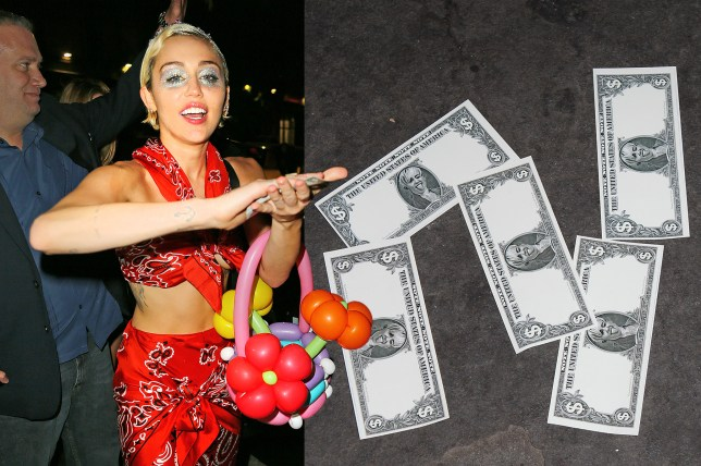 Miley Cyrus flashes her armpit hair when she makes it rain with fake money when heading to 1OAK with her friends Bella Hadid and Scout Willis. Pictured: Miley Cyrus Ref: SPL1025469  130515   Picture by: XactpiX / Splash News Splash News and Pictures Los Angeles: 310-821-2666 New York: 212-619-2666 London: 870-934-2666 photodesk@splashnews.com