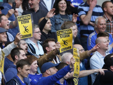 Chelsea fans actually made laminated signs to troll Liverpool's Steven Gerrard