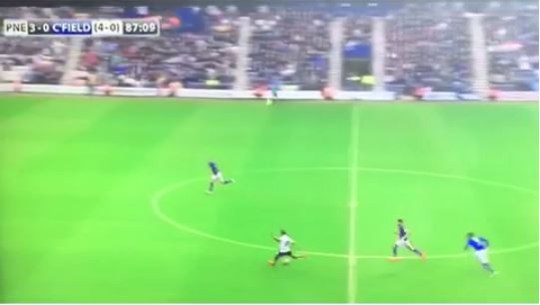 Jermaine Beckford takes aim from 45-yards - and scores! (Picture: Vine/SkySports)