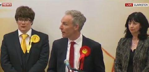 Watch the Lib Dem candidate 'chortling' during Jim Murphy's losing speech