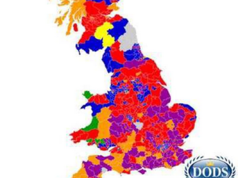 This map shows which party came second in each constituency