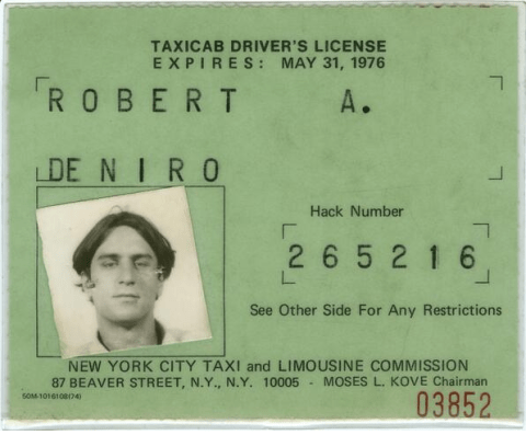 This is what Robert De Niro's taxi driver's licence looks like