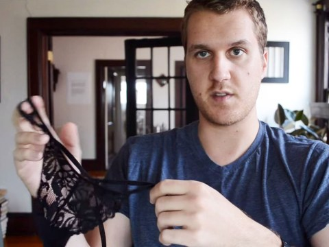 Guy tries to understand how a thong works. Fails