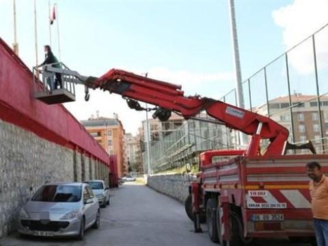 Corum Beledivespor boss Hamit Isik hires CRANE to watch match after stadium ban