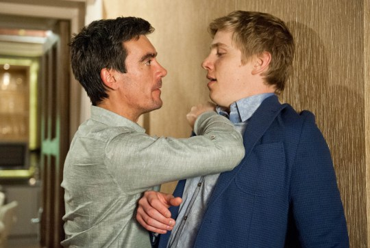FROM ITV STRICT EMBARGO -TV Listings Magazines & websites Tuesday 16 June 2015, Newspapers Saturday 20 June 2015  Emmerdale - Ep 7222 Monday 22 June 2015 Cain Dingle [JEFF HORDLEY] throws Robert Sugden [RYAN HAWLEY] against the wall, demanding he talks, Robert explains he wants Cain to find Adam and Victoria in return for his silence over the photo, leaving Cain caught. Picture contact: david.crook@itv.com on 0161 952 6214 Photographer - Amy Brammall This photograph is (C) ITV Plc and can only be reproduced for editorial purposes directly in connection with the programme or event mentioned above, or ITV plc. Once made available by ITV plc Picture Desk, this photograph can be reproduced once only up until the transmission [TX] date and no reproduction fee will be charged. Any subsequent usage may incur a fee. This photograph must not be manipulated [excluding basic cropping] in a manner which alters the visual appearance of the person photographed deemed detrimental or inappropriate by ITV plc Picture Desk. This photograph must not be syndicated to any other company, publication or website, or permanently archived, without the express written permission of ITV Plc Picture Desk. Full Terms and conditions are available on the website www.itvpictures.com