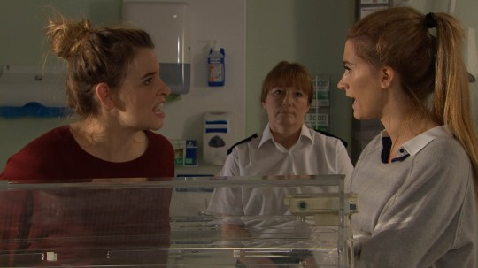 FROM ITV STRICT EMBARGO -TV Listings Magazines & websites Tuesday 23 June 2015, Newspapers Saturday 27 June 2015  Emmerdale - Ep 7222 Tuesday 30 June 2015  Debbie Dingle [CHARLEY WEBB] is struggling to make a decision regarding Moses' operation when Charity Macey [EMMA ATKINS] arrives, with a prison guard and bristling with attitude. Debbie's furious with Charity, who seems unaffected by Moses' worrying condition. Debbie snaps, telling Charity the baby's father should know his son is ill. But Charity vehemently disagrees. Picture contact: david.crook@itv.com on 0161 952 6214 This photograph is (C) ITV Plc and can only be reproduced for editorial purposes directly in connection with the programme or event mentioned above, or ITV plc. Once made available by ITV plc Picture Desk, this photograph can be reproduced once only up until the transmission [TX] date and no reproduction fee will be charged. Any subsequent usage may incur a fee. This photograph must not be manipulated [excluding basic cropping] in a manner which alters the visual appearance of the person photographed deemed detrimental or inappropriate by ITV plc Picture Desk. This photograph must not be syndicated to any other company, publication or website, or permanently archived, without the express written permission of ITV Plc Picture Desk. Full Terms and conditions are available on the website www.itvpictures.com
