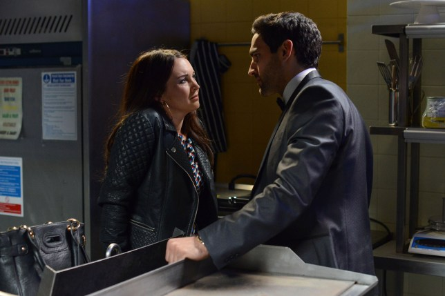 WARNING: Embargoed for publication until 09/06/2015 - Programme Name: EastEnders - TX: 15/06/2015 - Episode: 5085 (No. n/a) - Picture Shows: ***FORTNIGHTLIES PLEASE DO NOT USE (SOAP LIFE and ALL ABOUT SOAP) Stacey confronts Kush.  Stacey Branning (LACEY TURNER), Kush Kazemi (DAVOOD GHADAMI) - (C) BBC - Photographer: Kieron McCarron