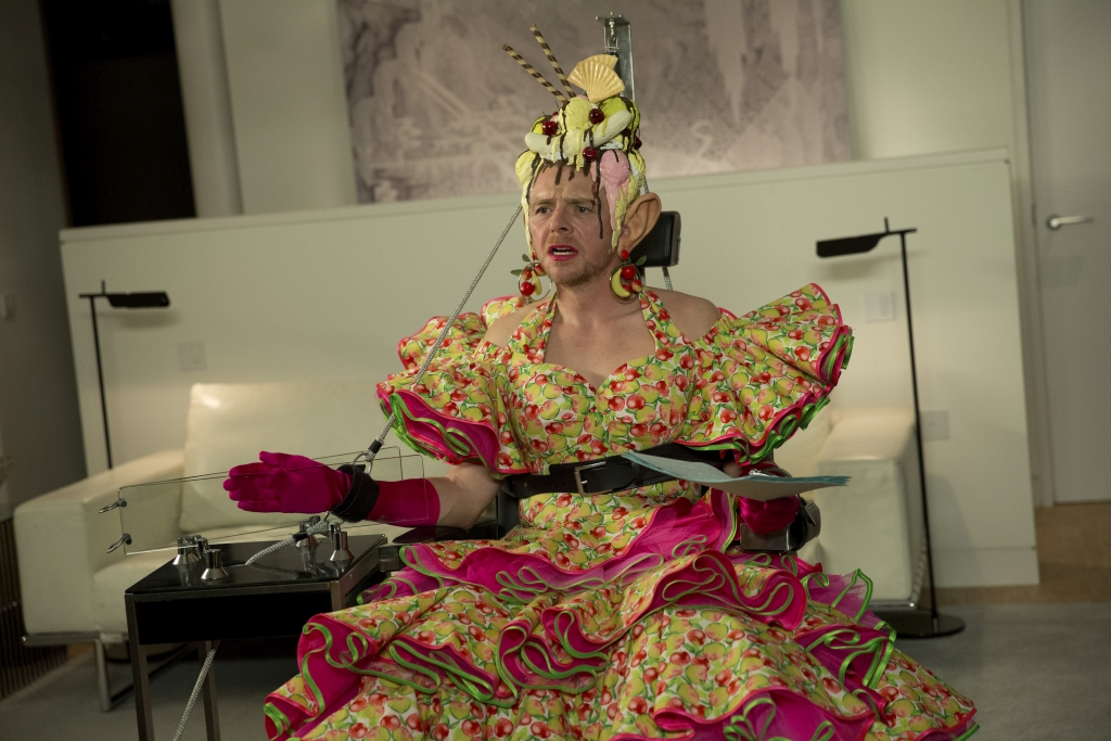 Yes, that is Simon Pegg in a dress in new sci-fi comedy Absolutely Anything