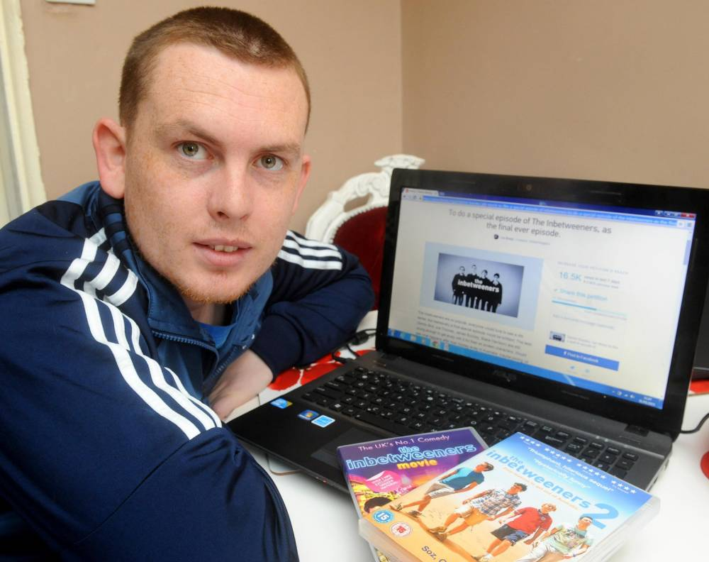 An Inbetweeners super-fan has got the backing of more than 15,000 people after he launched an online campaign in a desperate bid to bring back his favourite TV show. Lee Brady, 28, from Liverpool, was devastated when the hit franchise came to an end in 2014 after three series and two hit movies in just six years. But Lee - who fancies himself as a bit of a 'Neil' - has launched a petition to pressure the show's creators to bring it back for a special one off episode. And the support worker's petition has already smashed its target of 15,000 signatures  SEE MERCURY COPY