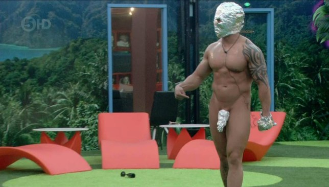 ****Ruckas Videograbs****  (01322) 861777 *IMPORTANT* Please credit Channel Five for this picture. 05/06/15 Big Brother - Channel 5 Day 25 SEEN HERE: Marc walks out naked apart from a tin foil helmet, glove and willy-warmer yesterday Grabs from overnight in the BB house Office  (UK)  : 01322 861777 Mobile (UK)  : 07742 164 106 **IMPORTANT - PLEASE READ** The video grabs supplied by Ruckas Pictures always remain the copyright of the programme makers, we provide a service to purely capture and supply the images to the client, securing the copyright of the images will always remain the responsibility of the publisher at all times. Standard terms, conditions & minimum fees apply to our videograbs unless varied by agreement prior to publication.