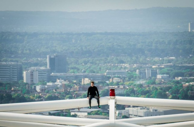 Mandatory Credit: Photo by REX Shutterstock (4831700g)  UK urban adventurer James Kingston live streams the best view in London to launch the 4GEE Action Cam, the world's first 4G-enabled camera, as he becomes the first person in the world to stand on top of the Wembley arch. EE.co.uk/ActionCam  First person to stand on top of the Wembley arch, London, Britain - 09 Jun 2015