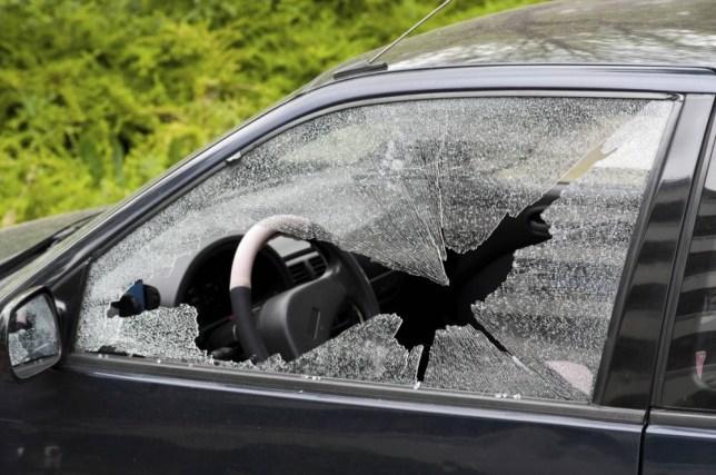 Smashed car window