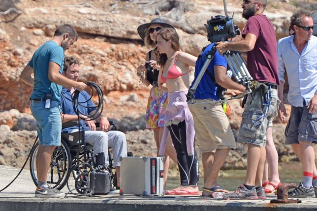 "Actors Emilia Clarke and Sam Claflin on set film ""Me Before You"" in Formentor beach, Mallorca. 9 June 2015.  10 June 2015. Please byline: G Tres/Vantagenews.co.uk"