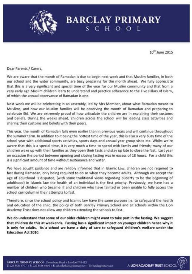 Barclay Primary school letter