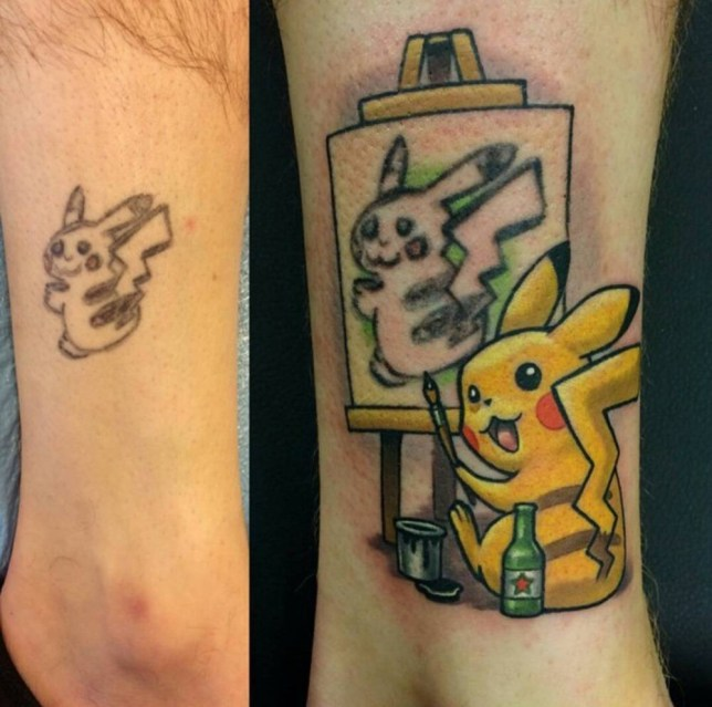 This dodgy Pokemon tattoo has been transformed into a work of art ...