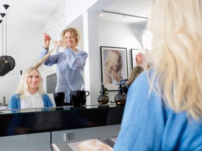 Hairdresser cutting woman¿É¬É¿Ç¬çs hair