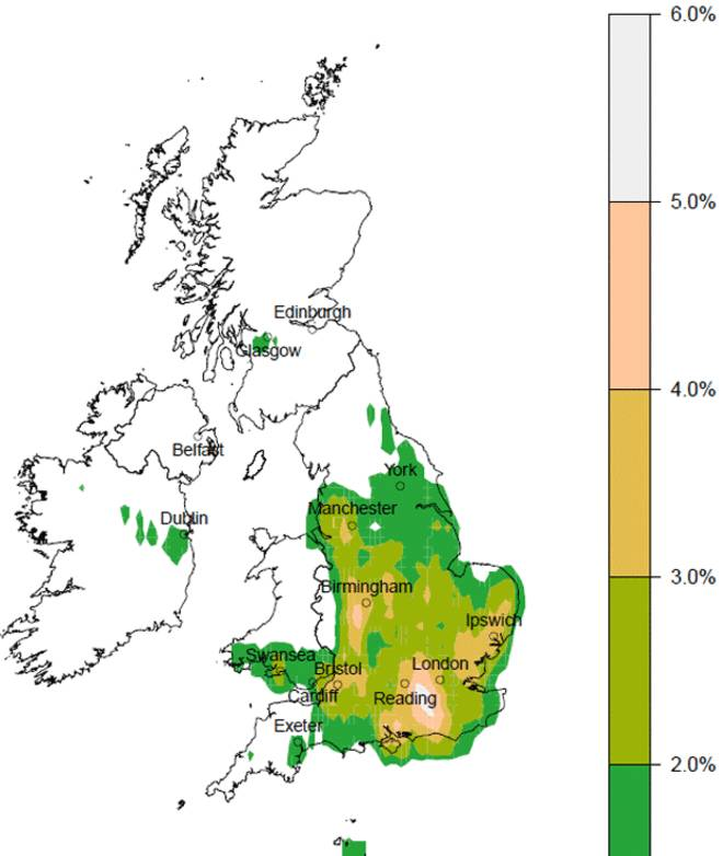 Map showing incidence of tornadoes from 1980 to 2012. (White areas no tornadoes, bright green low frequency, pink and grey highest frequency) Source: University of Manchester
