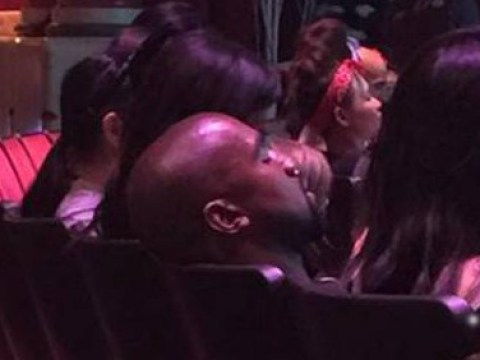 Kanye West caught falling asleep while watching Frozen stage show at North's Disneyland party