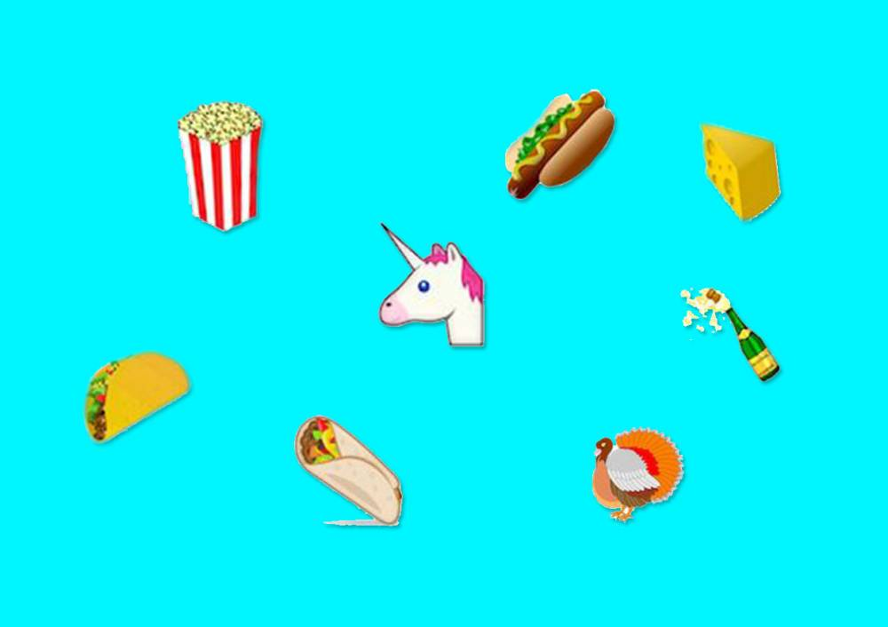 There's going be cheese wedge, taco, burrito and UNICORN emojis