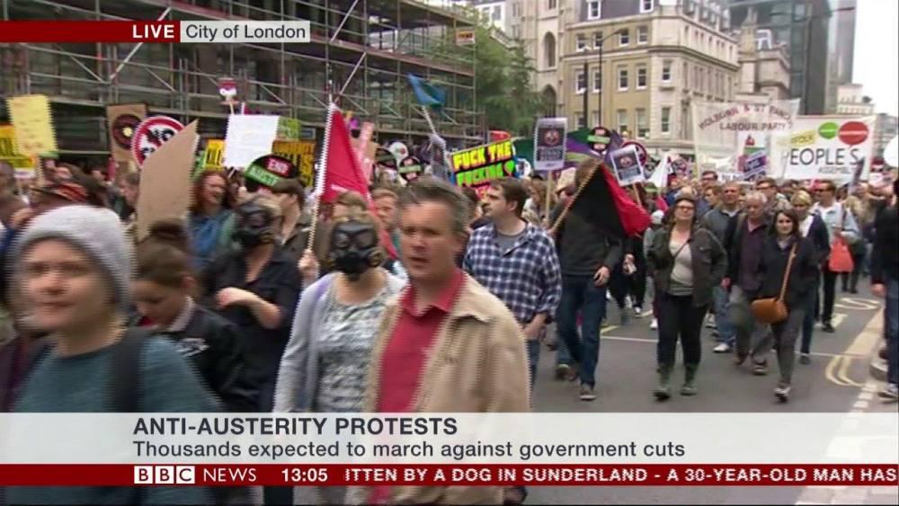 Anti-Austerity protests Credit: BBC NEWS