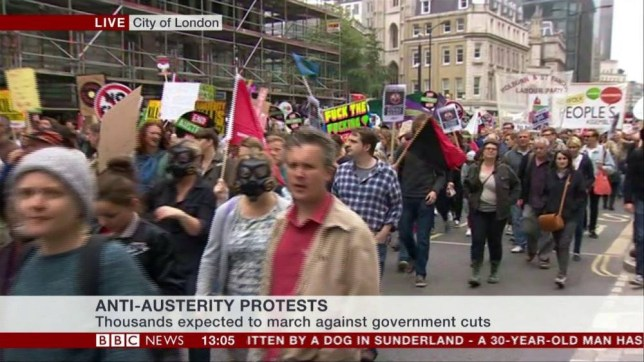 Anti-Austerity protests Credit: BBC NEWS