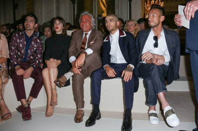 Mandatory Credit: Photo by LaurentVu/SIPA/REX Shutterstock (4875905b)  Joe Jonas, Jeanne Damas, Giancarlo Giammetti, Zayn Malik, Hidetoshi Nakata  Valentino show, Spring Summer 2016, Paris Men's Fashion Week, France - 24 Jun 2015