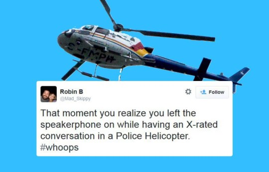 Police in a chopper don't realise they're having a sex conversation on loudspeaker as they fly over city