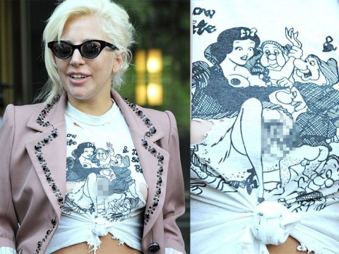 WTF? Lady Gaga is wearing a T-shirt showing Snow White having a dwarf orgy