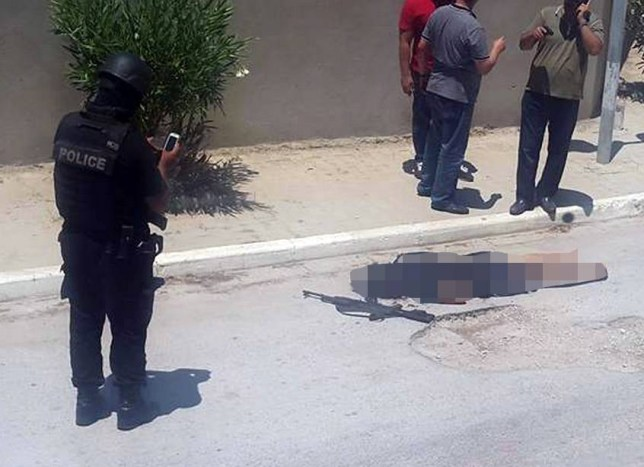 Internet pic shows: Sousse, Tunisia - npicture posted on the internet claims to one of the gunmen  dead in the road with an AK47 at his side.nnnnPicture by Pixel8000 07917221968