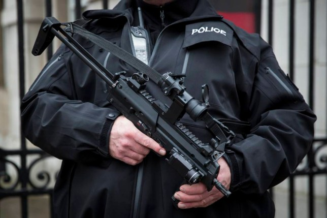 "LONDON, ENGLAND - JANUARY 12: An armed police officer patrols on Whitehall on January 12, 2015 in London, England. Prime Minister David Cameron and security chiefs met earlier today to review the risk of a Paris-style attack occurring in the UK. The terror threat level in the United Kingdom remains unchanged at ""severe"", meaning an attack is highly likely. (Photo by Rob Stothard/Getty Images)"