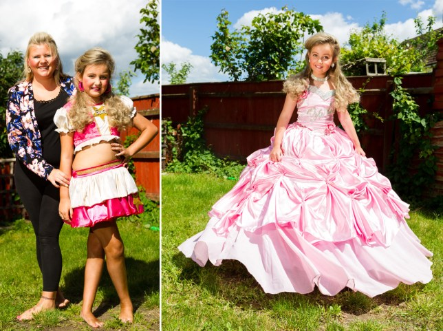 *** EXCLUSIVE - VIDEO AVAILABLE *** ***STRICT ONLINE EMBARGO 00:01 MONDAY 1ST JUNE 2015** PETERBOROUGH, UNITED KINGDOM - MAY 28: Barbie Loveridge poses for a photograph with her mother Samantha Pavey on May 28, 2015 in Peterborough, England. Nine-year-old Barbie Pavey is no stranger to fake tan, full make-up, false lashes and glamorous curled hair pieces. The primary school girl gets dolled up once a month for beauty pageant competitions, and no embellishment is spared. Adoring mum, Samantha Pavey, 29, spends £350 month turning her daughter into a pageant princess ñ even paying for spray tans to ensure the perfect look. PHOTOGRAPH BY Jonathan Pow / Barcroft Media UK Office, London. T +44 845 370 2233 W www.barcroftmedia.com USA Office, New York City. T +1 212 796 2458 W www.barcroftusa.com Indian Office, Delhi. T +91 11 4053 2429 W www.barcroftindia.com