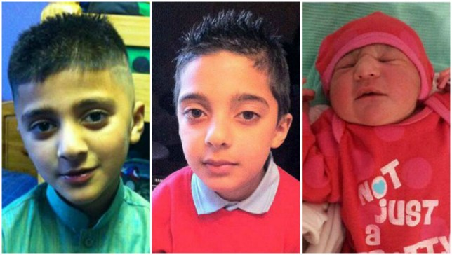 dyan Parwaiz Kayani, nine (left) Amaan Parwaiz Kayani, seven (centre) and nine-week-old sister Minahil (Picture: Ross Parry)