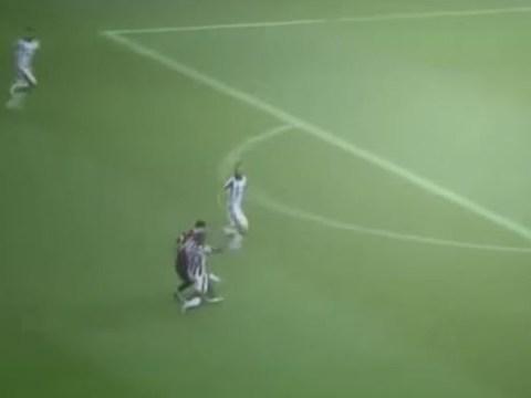 Man United hero Patrice Evra pulls off incredible slide tackle on Lionel Messi during Juventus v Barcelona