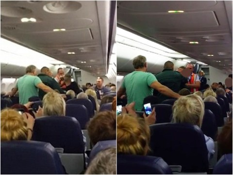 People cheer as 'drunk passenger' is escorted off plane after forcing an emergency landing