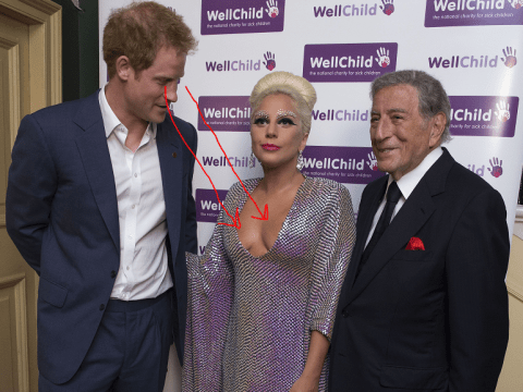 Prince Harry was totally caught checking out Lady Gaga's boobs