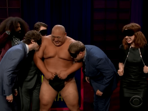 James Corden made four grown adults nuzzle a naked sumo wrestler and it's hilariously cringe