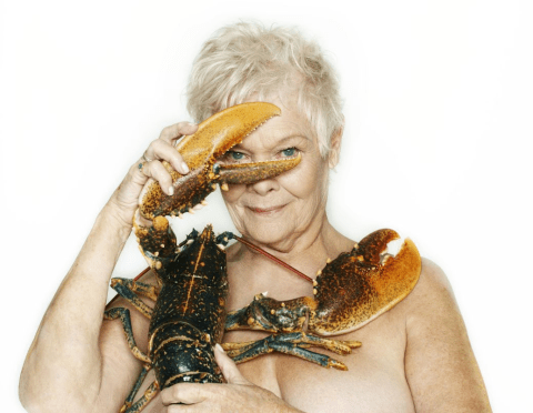 Dame Judi Dench has posed naked with a lobster