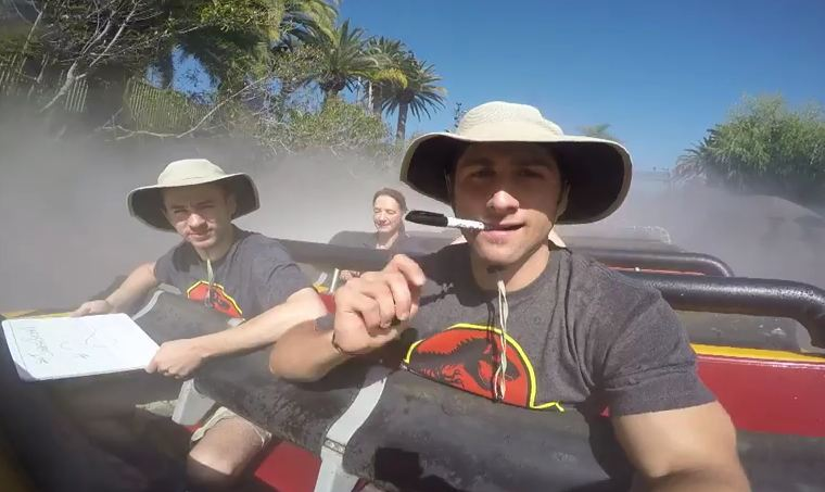 Two friends ride on 'Jurassic Park River Adventure' non-stop for 12 hours