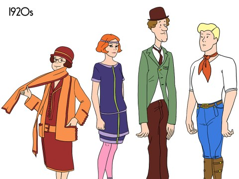 Vintage fashion through the ages, as modelled by the Scooby Doo gang